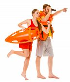 Lifeguards with rescue tube buoy and life vest jacket looking through binoculars. Man and woman supervising swimming pool running. Accident prevention. poster
