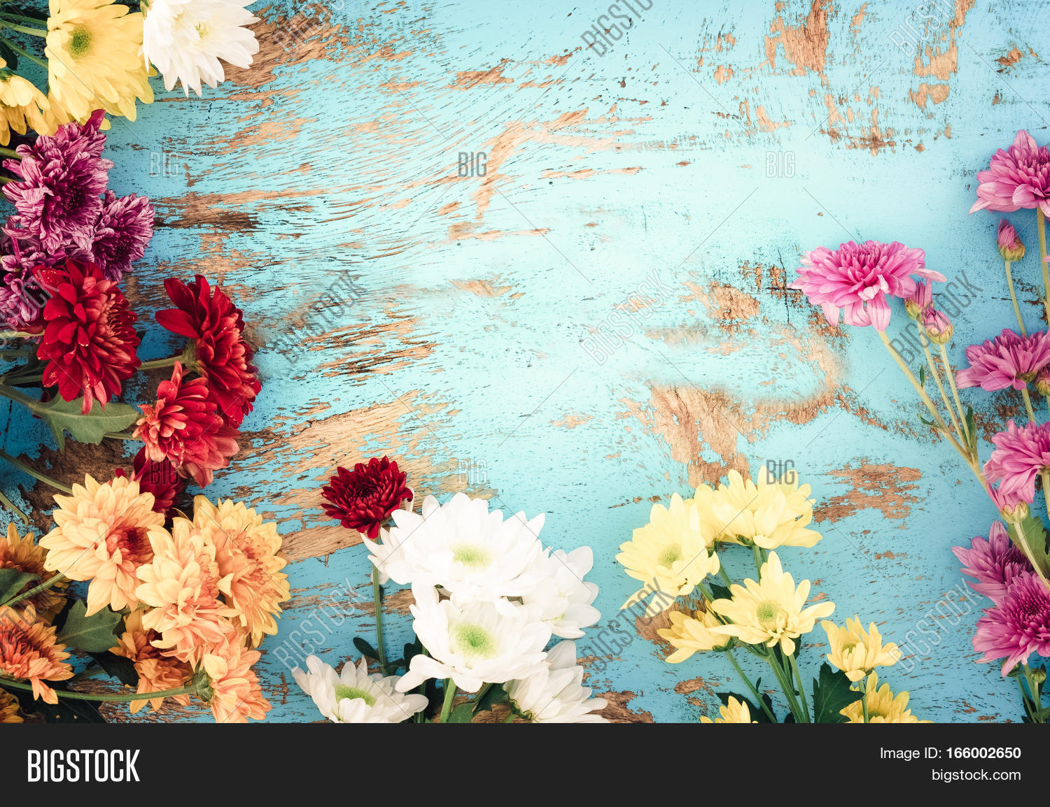 Colorful flowers image photo free trial bigstock colorful flowers bouquet on vintage wooden background border design vintage color tone concept flower izmirmasajfo