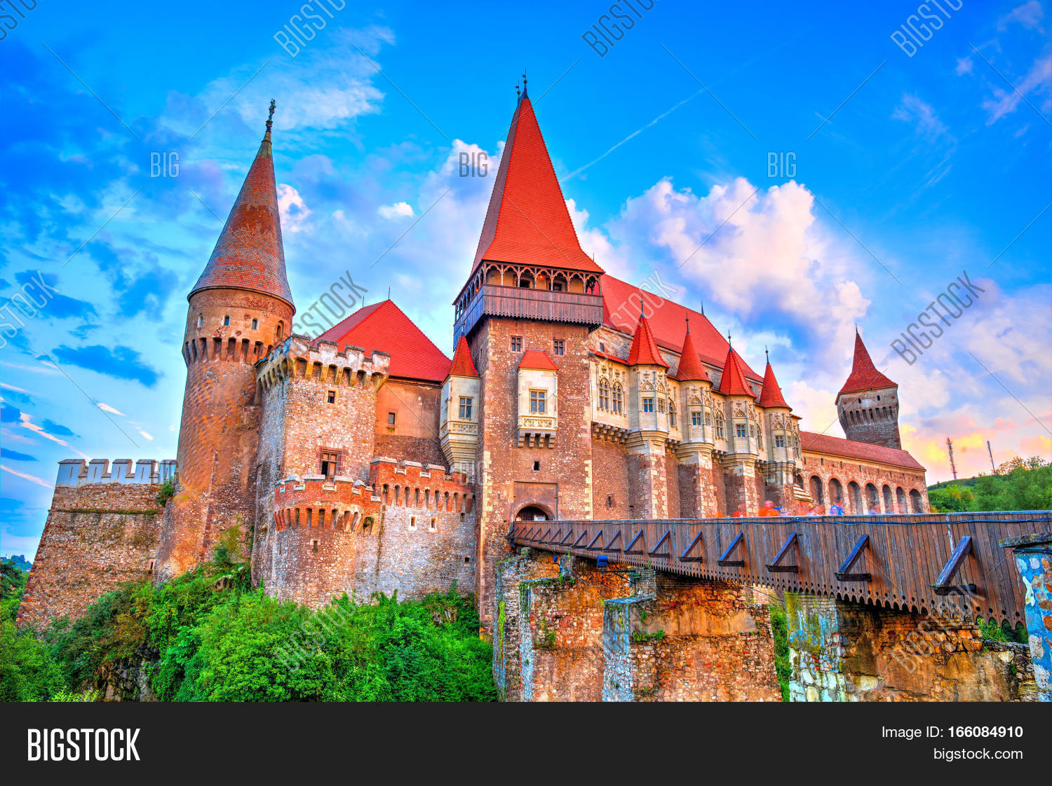 Medieval Castle In Hunedoara Famous Corvin Monument Of Gothic Architecture Romania
