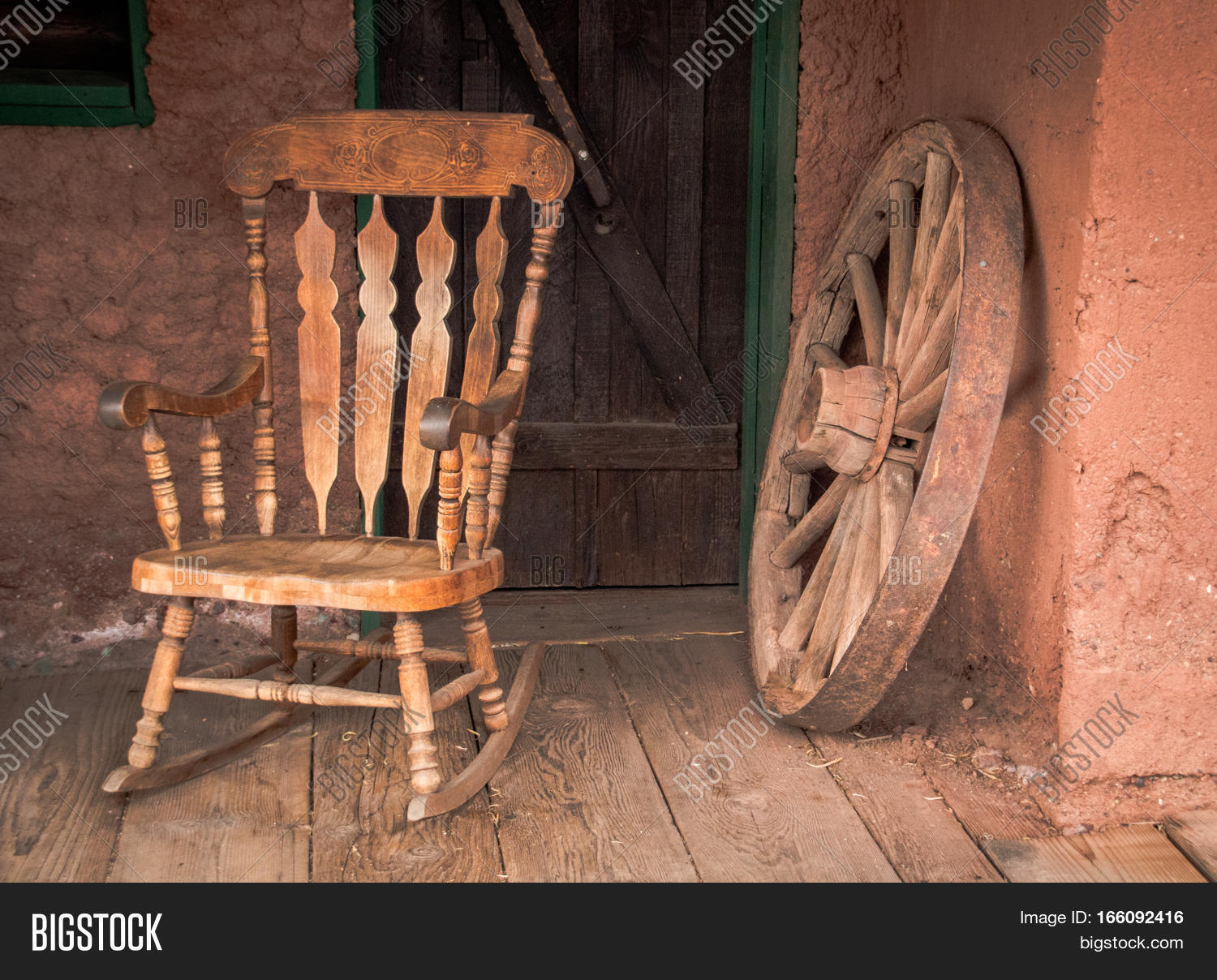 Rocking chair and old wooden wheel in Calico ghost town in USA & Rocking Chair Old Image u0026 Photo (Free Trial) | Bigstock