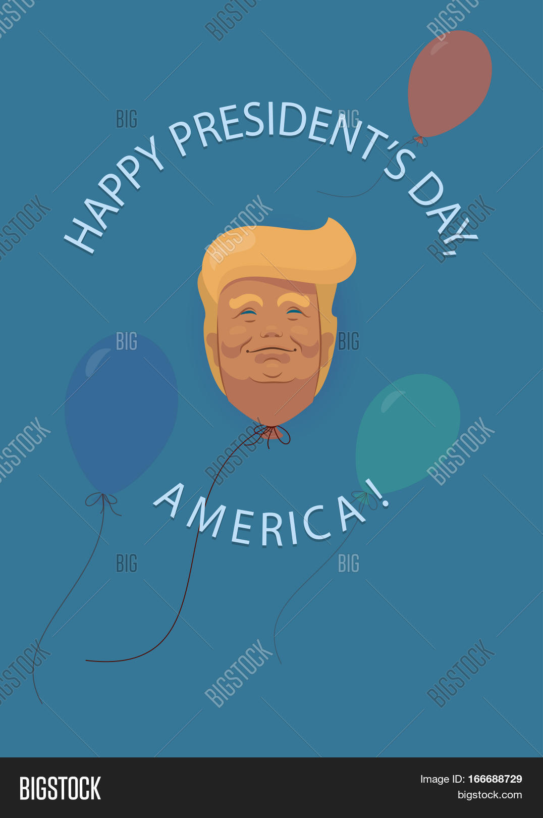 Donald Trump Flat Cartoon Presidents Day In USA Also And Washingtons Birthday