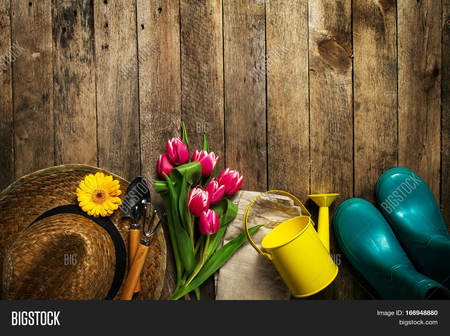 Gardening tools image photo free trial bigstock gardening tools flowers watering can rubber boots and straw hat on vintage wooden table spring mightylinksfo
