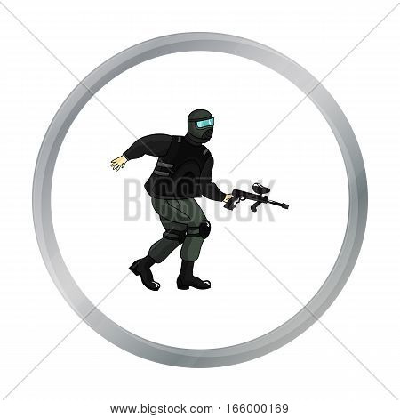 Paintball player icon in cartoon design isolated on white background. Paintball symbol stock vector illustration. - stock vector