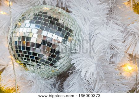 Glass balls garland decoration for christmas and new year festival on white tree
