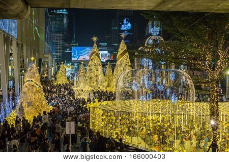 Bangkok Thailand - January 1 2017: Many people come to taking picture of Christmas and New Year decoration light in front of Central World department store famous Bangkok Thailand