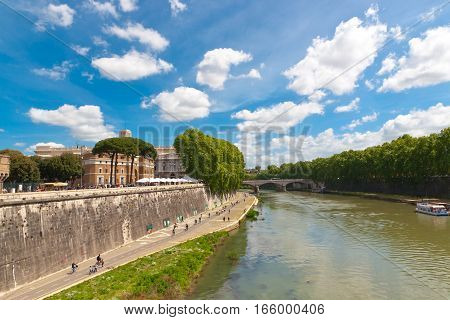 Cycle track along the Tiber river in Rome Italy