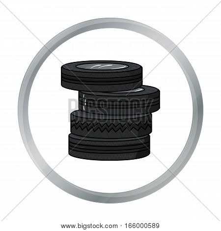 Barricade from tires icon in cartoon design isolated on white background. Paintball symbol stock vector illustration. - stock vector