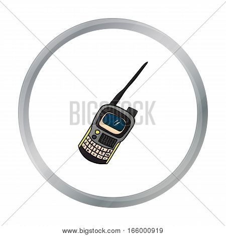 Handheld transceiver icon in cartoon design isolated on white background. Paintball symbol stock vector illustration. - stock vector