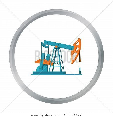Oil pumpjack icon in cartoon style isolated on white background. Oil industry symbol vector illustration. - stock vector