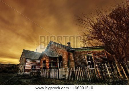 Ghost Town Abandoned Building with spooky skies