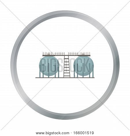 Oil refinery tank icon in cartoon style isolated on white background. Oil industry symbol vector illustration. - stock vector