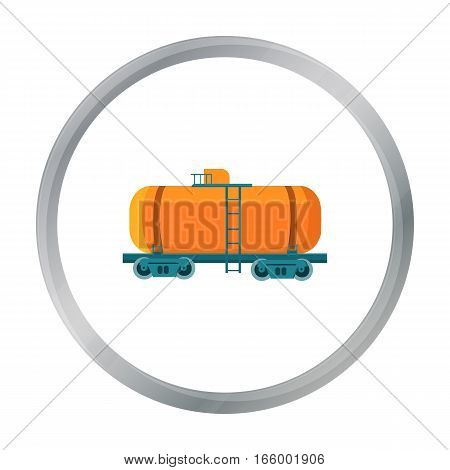 Oil tank car icon in cartoon style isolated on white background. Oil industry symbol vector illustration. - stock vector