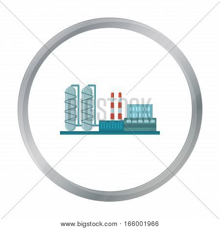 Oil refinery factory icon in cartoon style isolated on white background. Oil industry symbol vector illustration. - stock vector