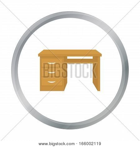 Office desk icon in cartoon style isolated on white background. Office furniture and interior symbol vector illustration. - stock vector