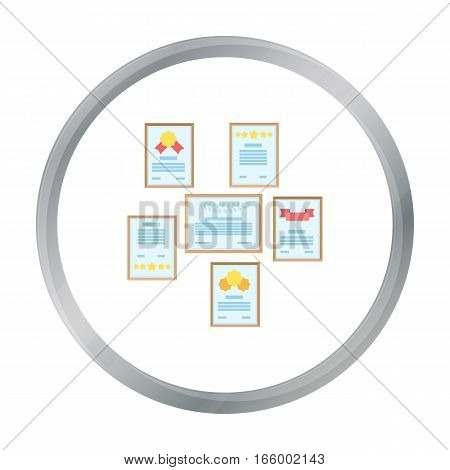Wall of certificates icon in cartoon style isolated on white background. Office furniture and interior symbol vector illustration. - stock vector