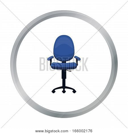 Office chair icon in cartoon style isolated on white background. Office furniture and interior symbol vector illustration. - stock vector