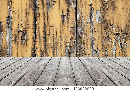 Wood grunge scene background and floor. Box wooden gray boards. Set design composed of wooden planks gray and wall background with worn and frayed wood. Floor with perspective.