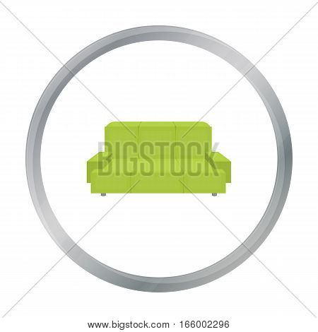 Green couch icon in cartoon style isolated on white background. Office furniture and interior symbol vector illustration. - stock vector