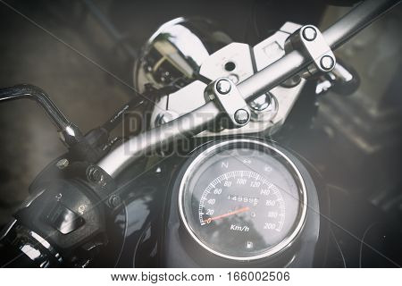 Gauges of old classic motorcycle vintage effect