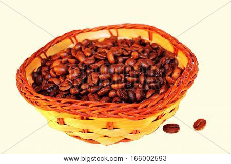 Coffee basket grain insulated white background drink loved vigorous freshness aroma