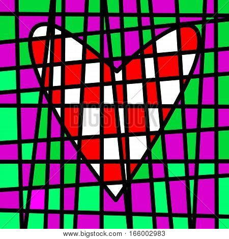 Heart colorful tiled patchwork. Colored plot. A red and white heart drawn in the plot of colored tiles with a black border.