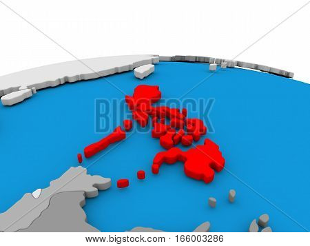 Philippines On Globe In Red