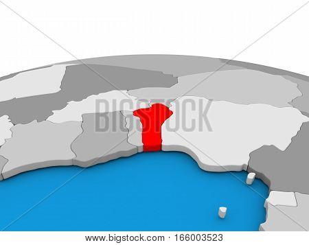 Benin On Globe In Red