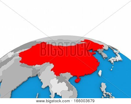 China On Globe In Red