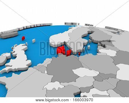 Denmark On Globe In Red