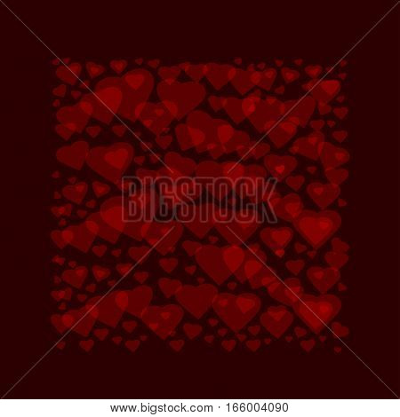 Frame consists of hearts on a red background. Heart square frame for Valentines Day. Vector romantic background