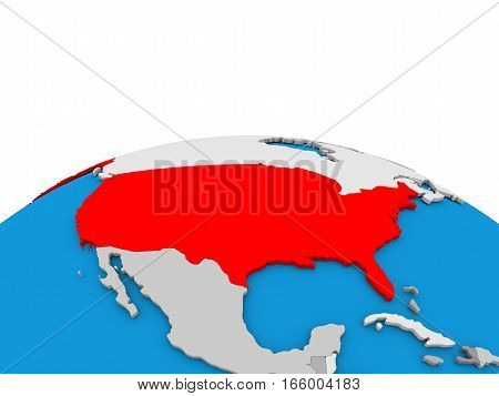 Usa On Globe In Red