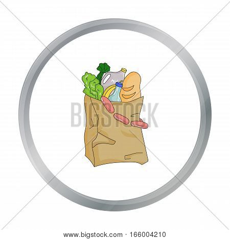 Paper bag filled with food icon in cartoon design isolated on white background. Supermarket symbol stock vector illustration