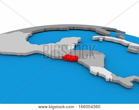 El Salvador On Globe In Red