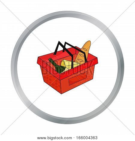 Shopping basket full of groceries icon in cartoon design isolated on white background. Supermarket symbol stock vector illustration