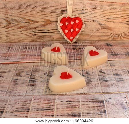 Candle in the shape of a heart for Valentine's Day or Easter gift