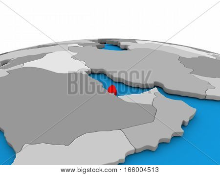 Qatar On Globe In Red