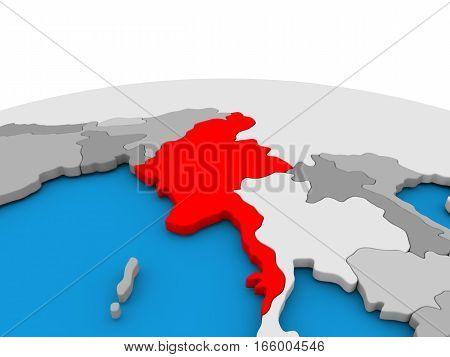 Myanmar On Globe In Red