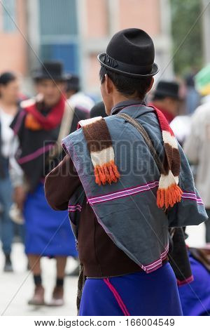 September 6, 2016 Silvia, Colombia: Guambiano men standing on the street wearing traditional outfit
