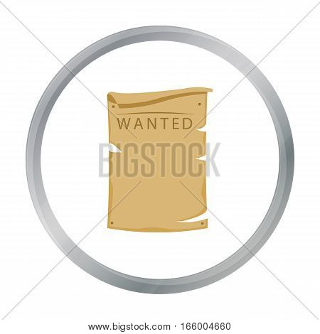 Wanted poster icon cartoon. Singe western icon from the wild west cartoon.