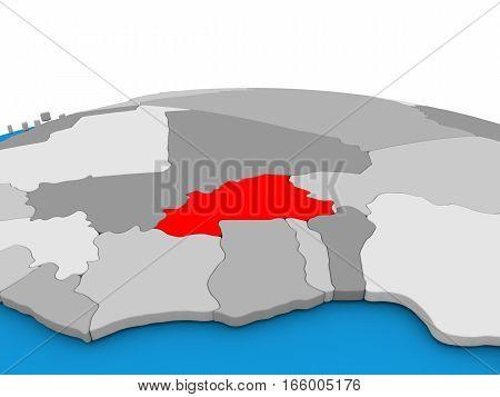 Burkina Faso On Globe In Red