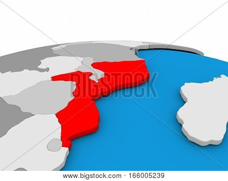 Mozambique On Globe In Red