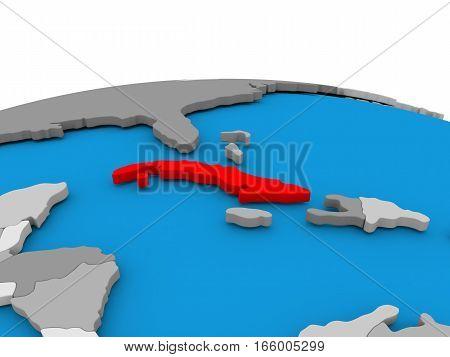 Cuba On Globe In Red