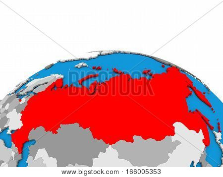 Russia On Globe In Red