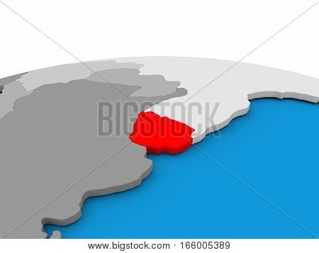 Uruguay On Globe In Red
