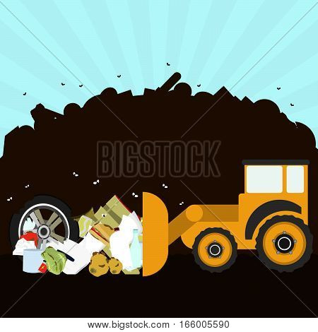 Bulldozer rearranging garbage in landfill. Silhouette of a pile of rubbish in the background. Garbage contains tires rotten foods plastics glass and old crate.