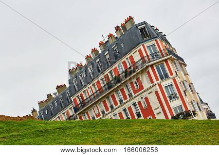 Funny picture of a building on Montmartre hill taken with an unusual angle Paris France