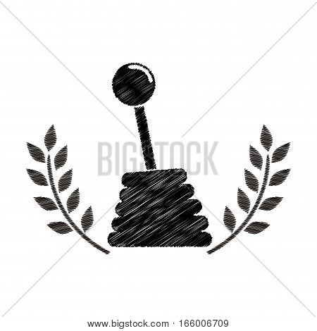 gearshift prize in monochrome striped with olive branch vector illustration