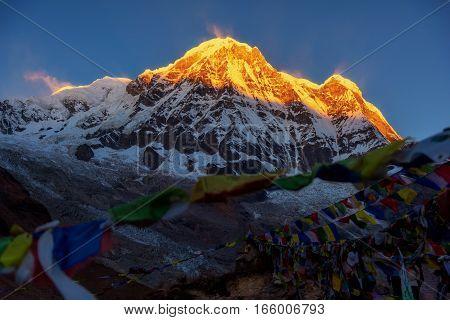 Mt. Annapurna at sunrise from Annapurna base camp ,Nepal.