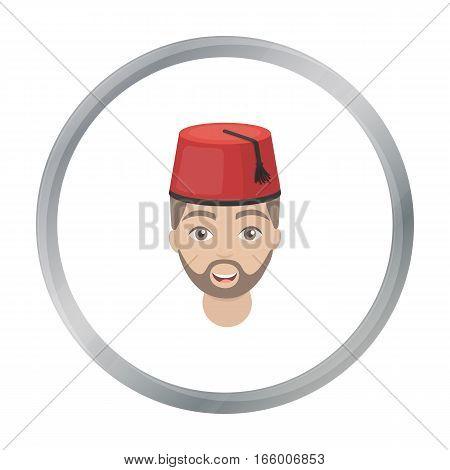 Turkish man icon in cartoon style isolated on white background. Turkey symbol vector illustration. - stock vector