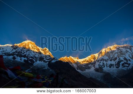 Mt. Annapurna at sunrise from Annapurna base camp ,Nepal.